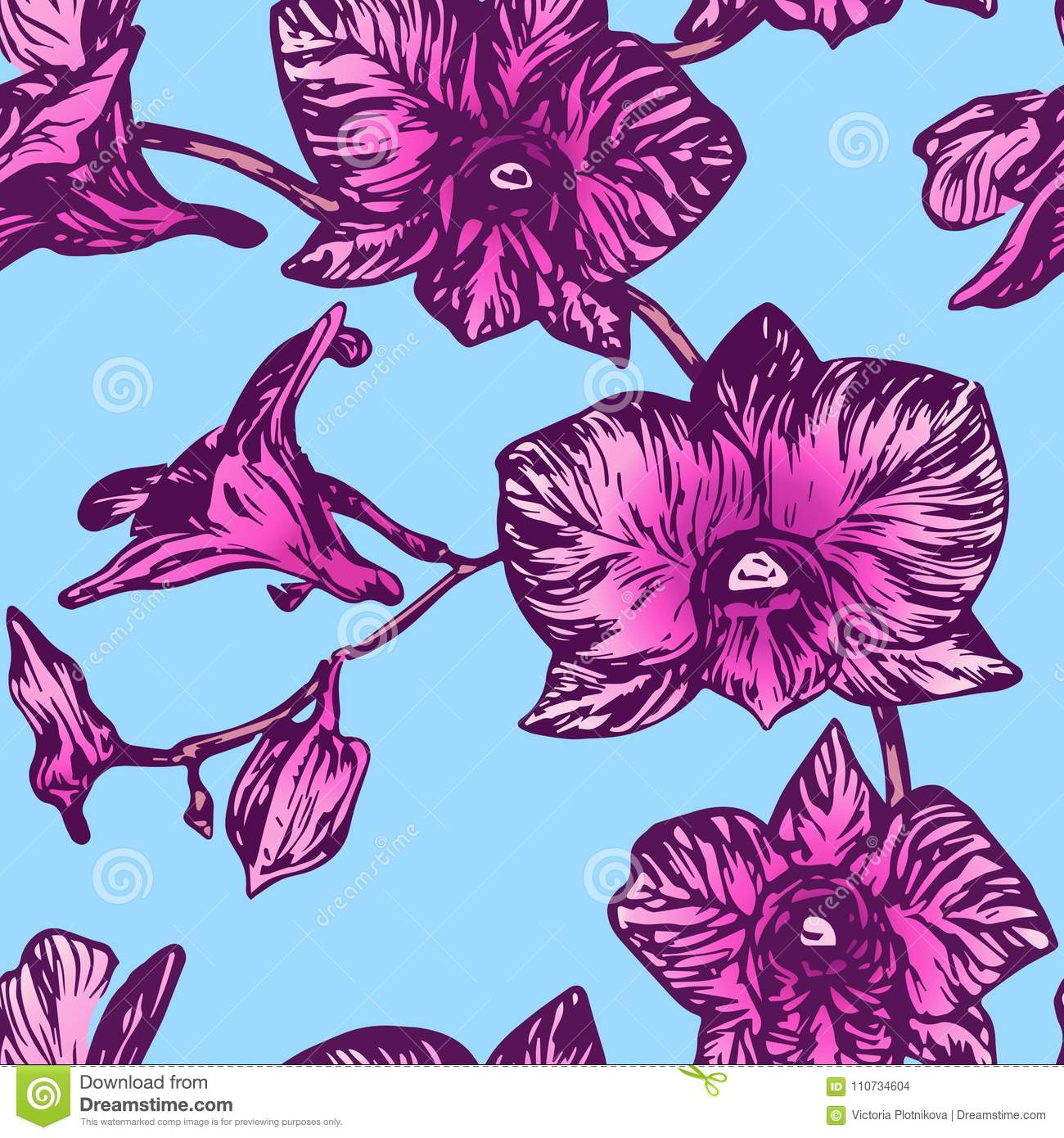 Purple Orchid Flowers On Bright Blue Background Stock Illustration