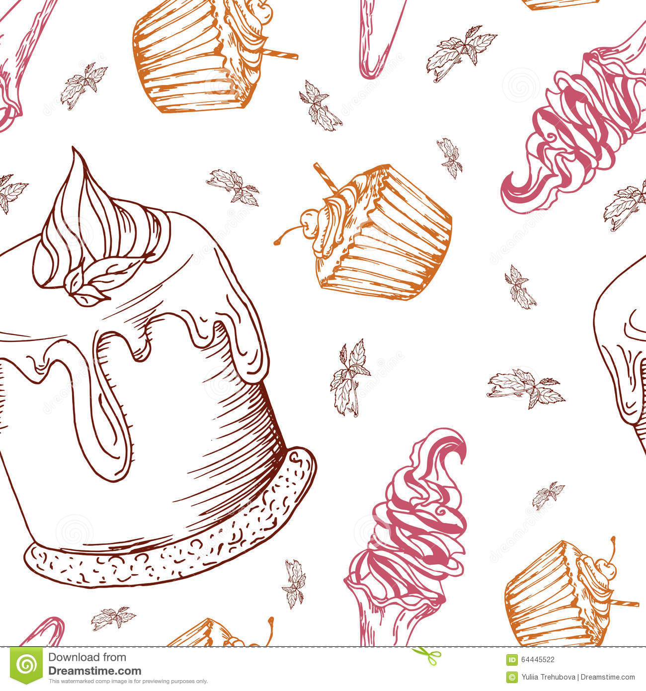 Seamless pattern with desserts. Hand drawn panna cotta, muffin, ice cream. Vector illustration for your design.