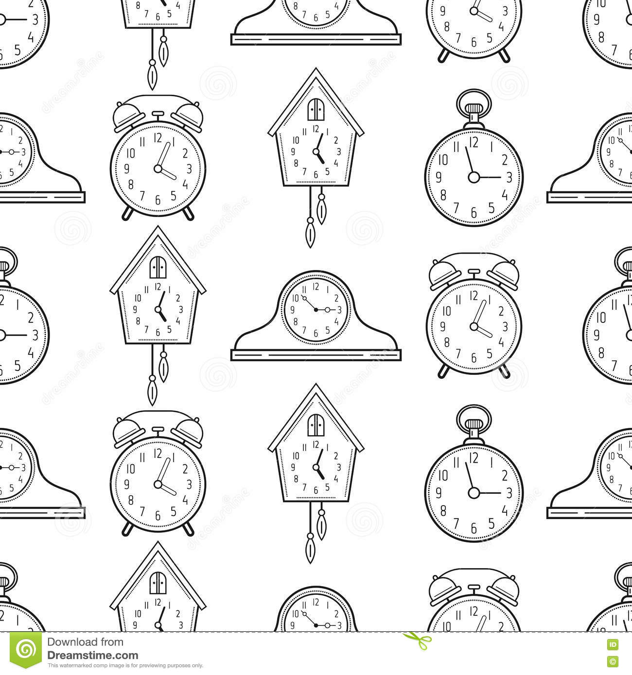 Seamless pattern with different kinds of watches linear - Tipos de relojes ...