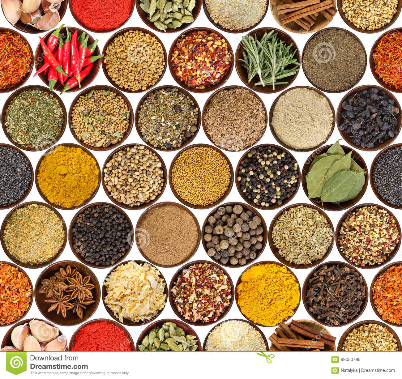 Seamless pattern with different spices isolated on white background.
