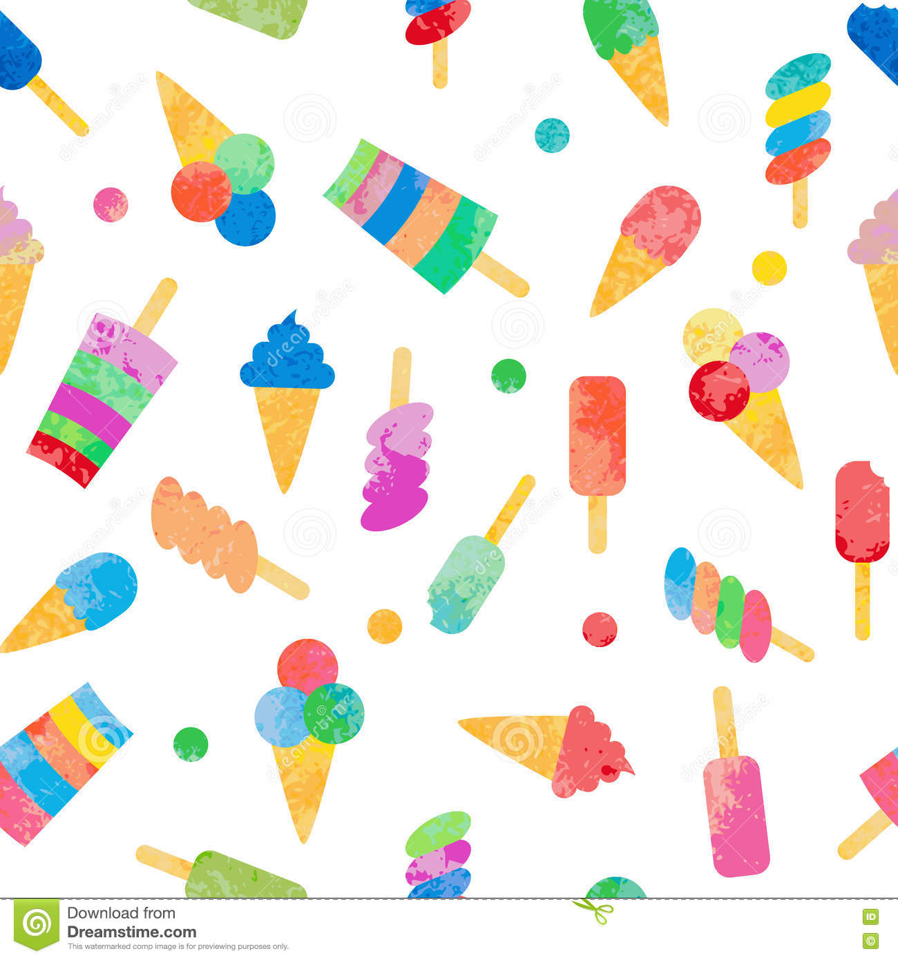Pattern Cute Colorful Ice Cream Textiles Stock Vector: Seamless Pattern With Different Types Of Ice Cream. Stock