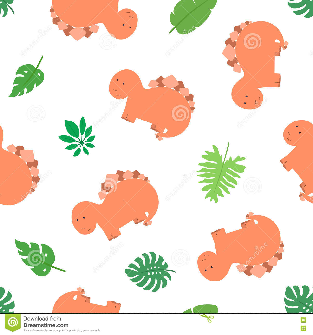 Seamless pattern of dino 1 stock vector image of cute for Kids apparel fabric