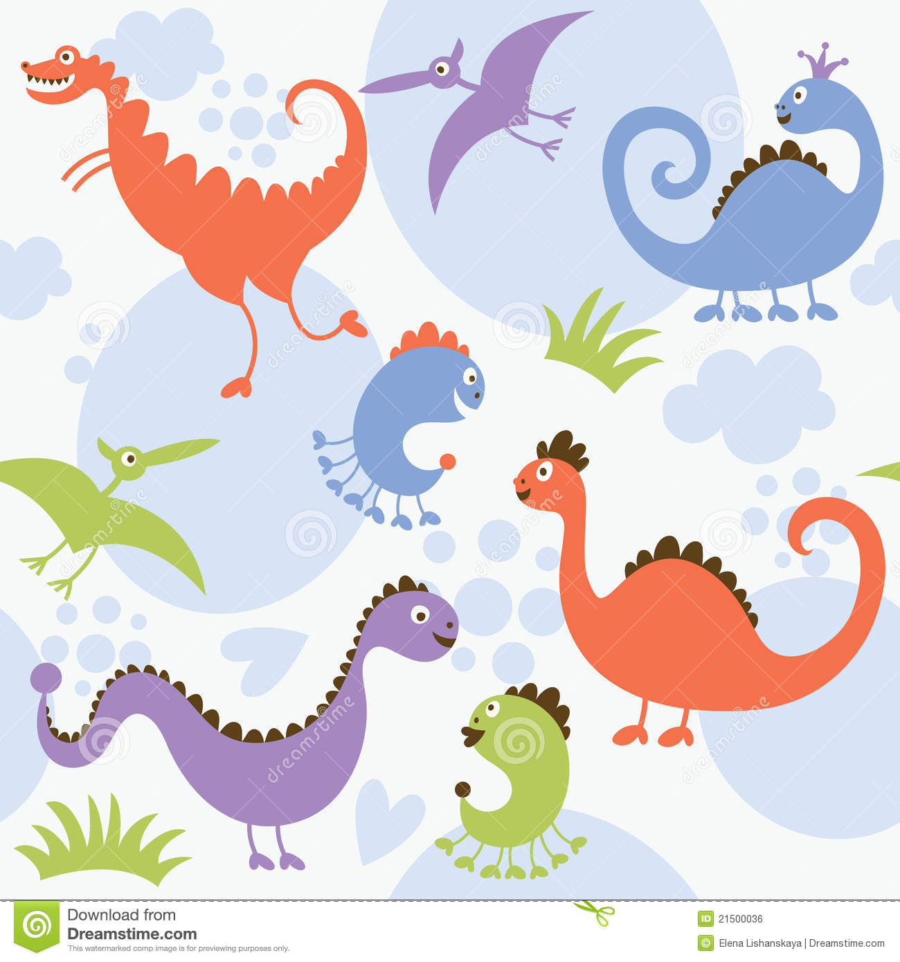 Seamless pattern, dinosaur stock vector. Illustration of kids - 21500036