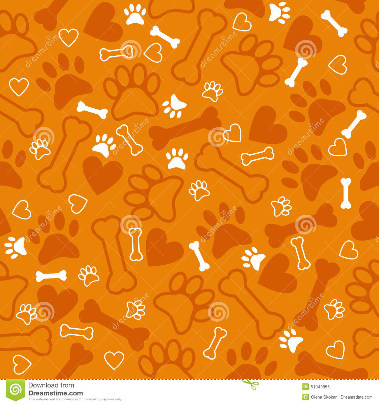 seamless pattern with dog paw print  bone and hearts