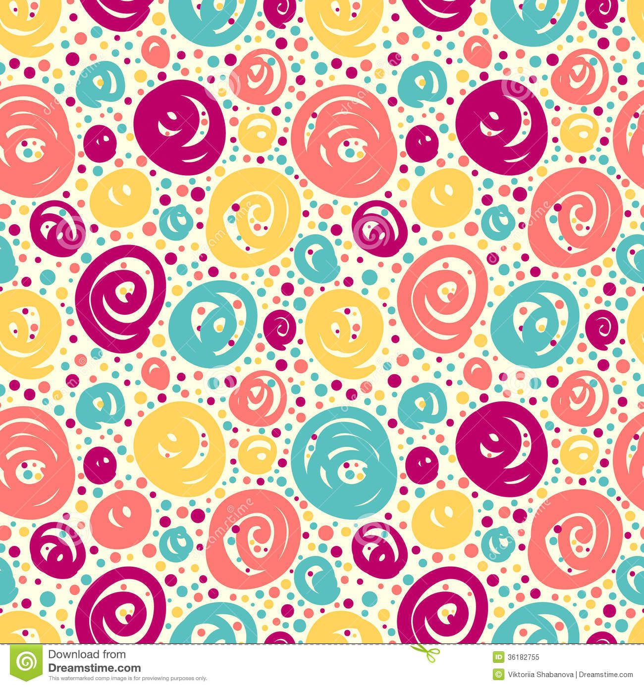 Seamless Pattern With Doodle Dots Retro Fashion