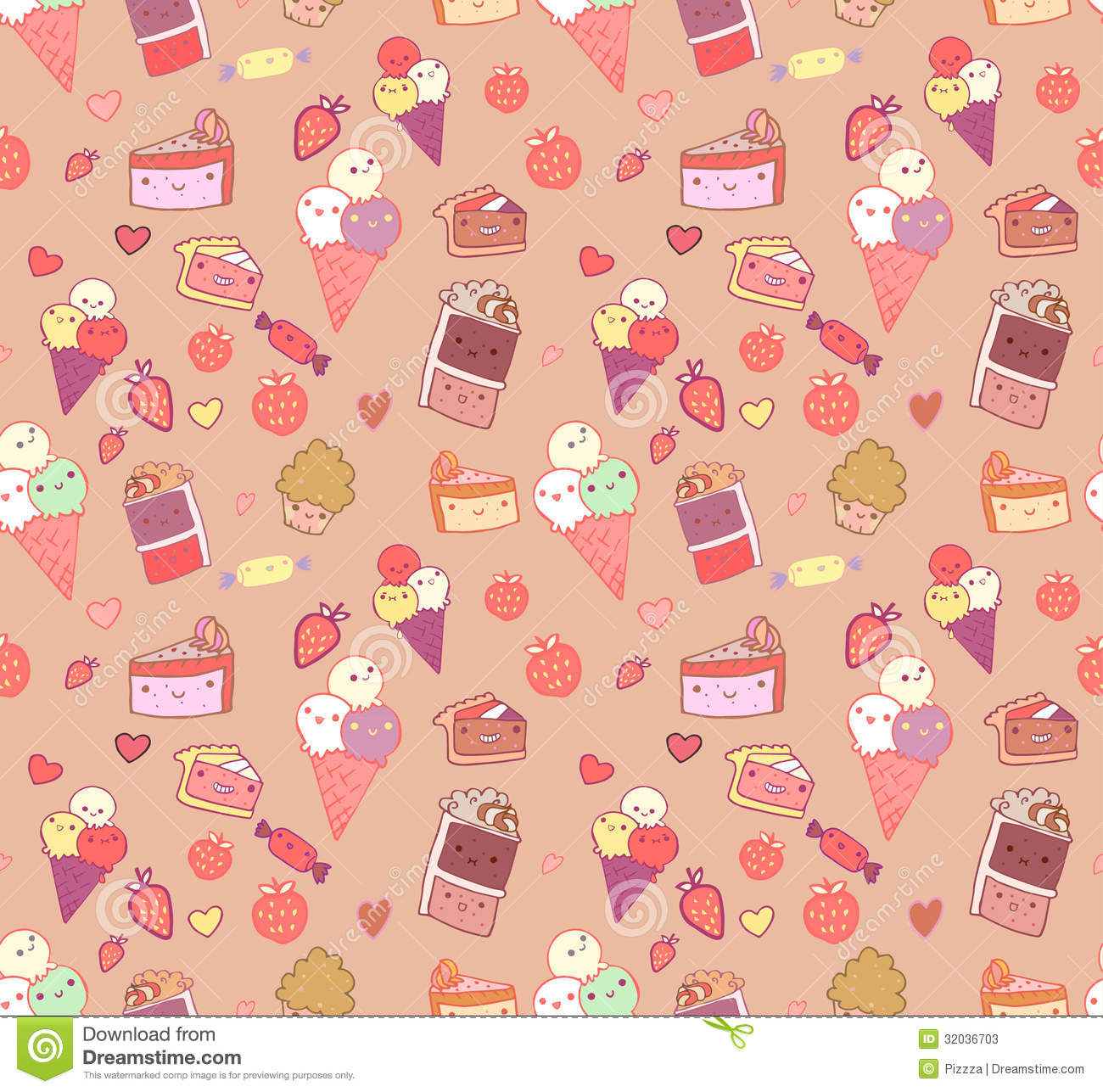 Pattern Cute Colorful Ice Cream Textiles Stock Vector: Seamless Pattern With Doodle Vector Kawaii Illustration