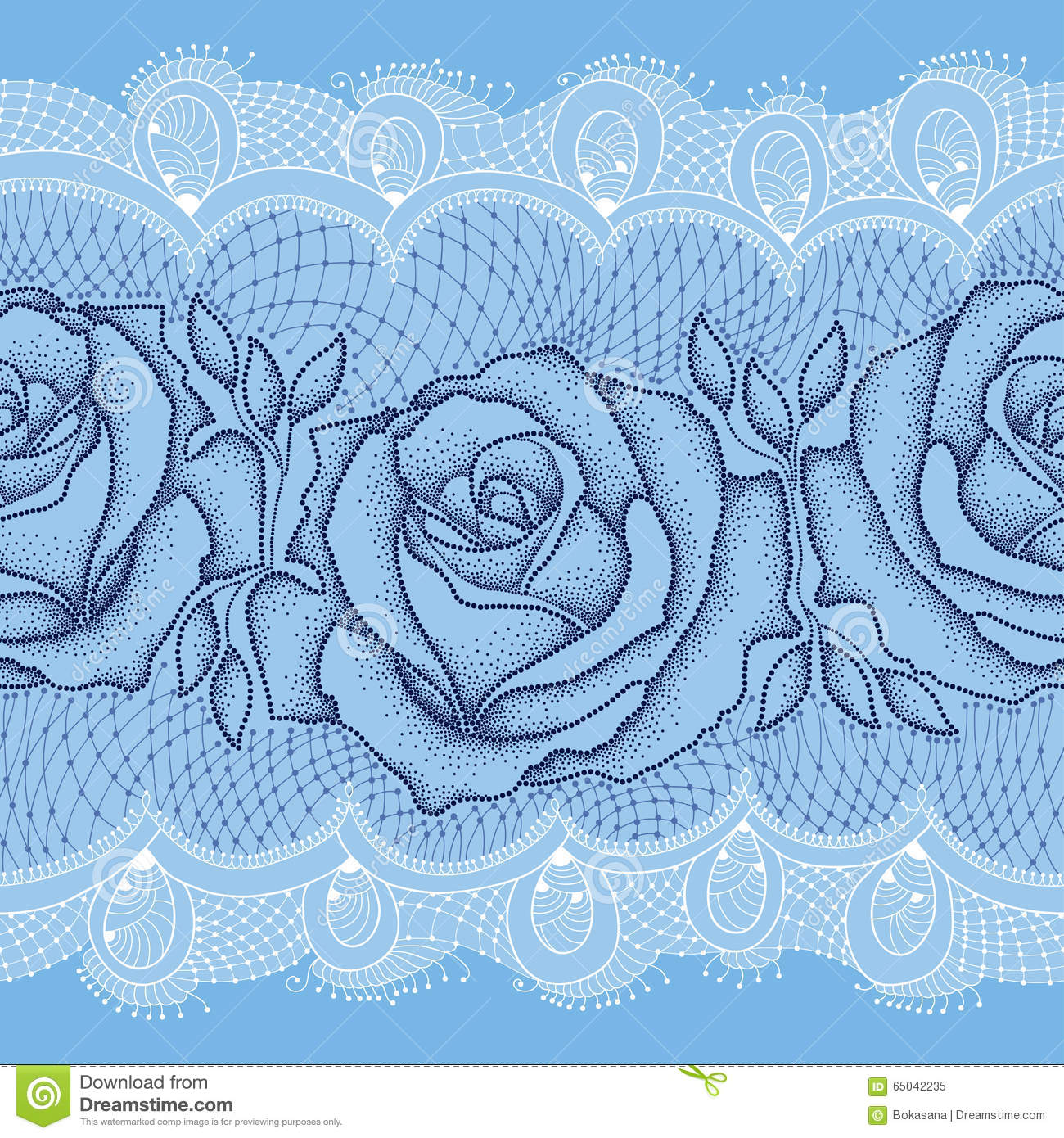 Black Flower Rose From Lace On White Background: Seamless Pattern With Dotted Rose In Black With Leaves On