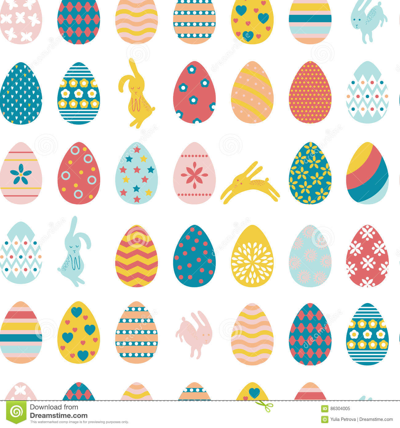 Seamless pattern Easter eggs and rabbits.