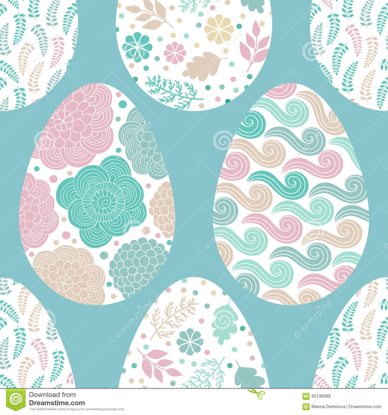 Seamless pattern with Easter eggs, vector