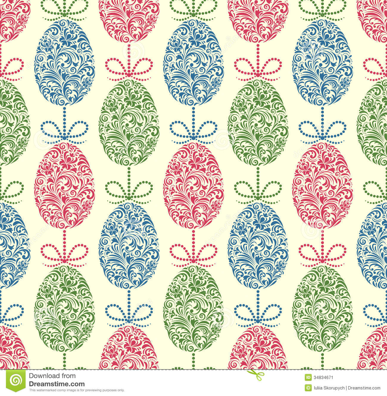 seamless pattern with easter eggs stock vector illustration of