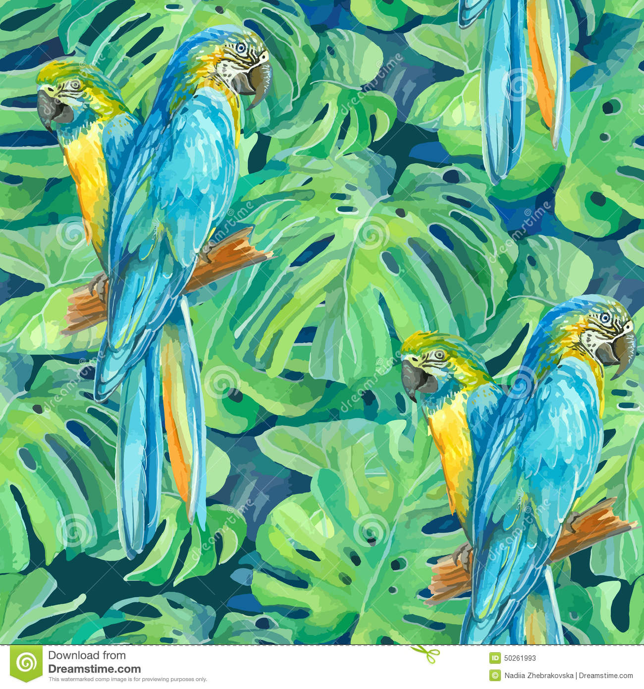 Seamless pattern element of two ara parrots and