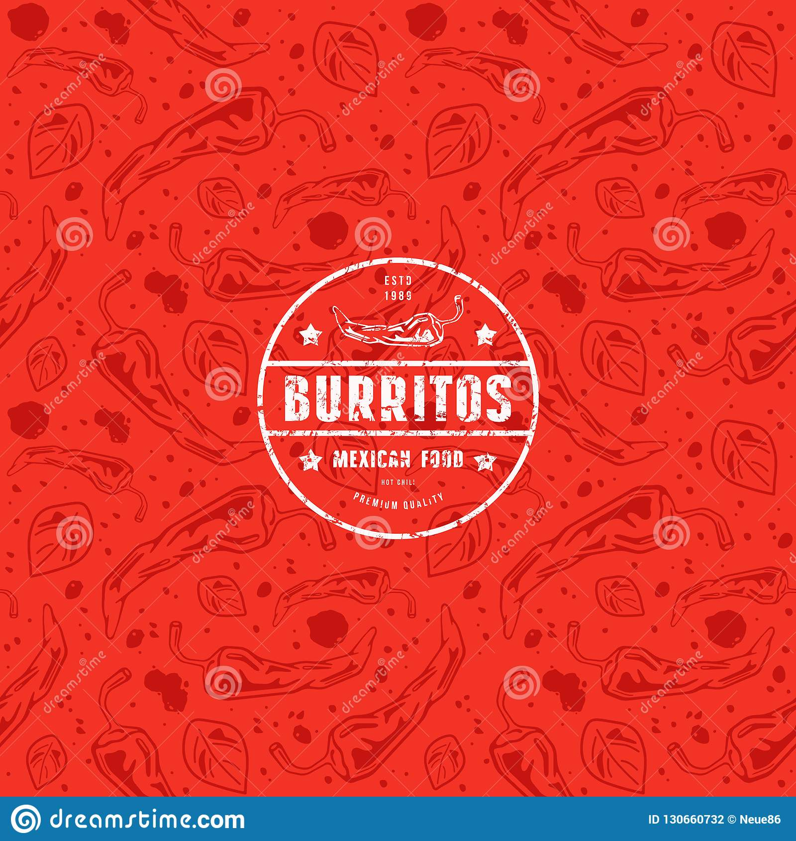 Seamless Pattern And Emblem For Mexican Restaurant Stock