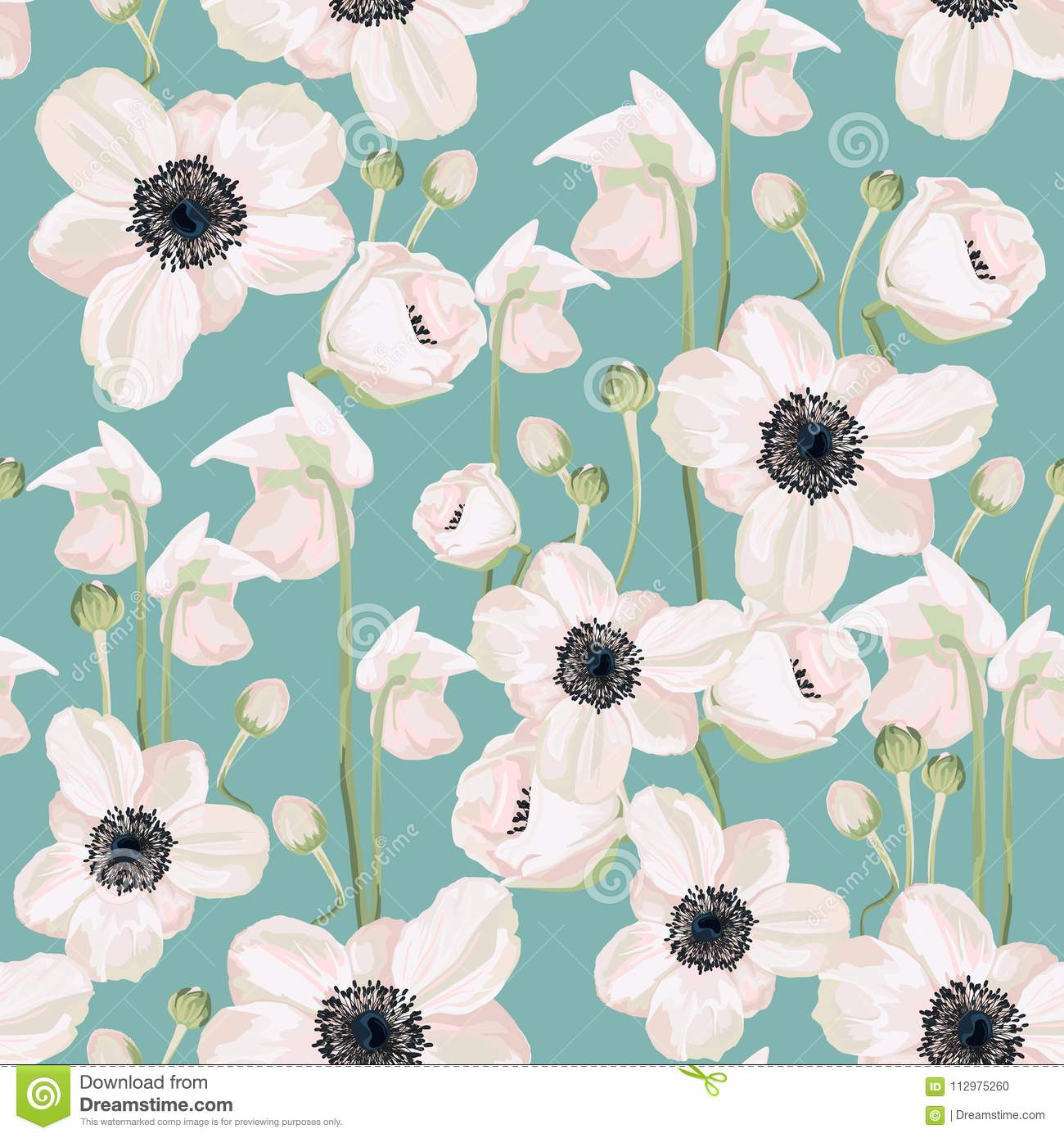 Seamless pattern with eustoma with mint background.