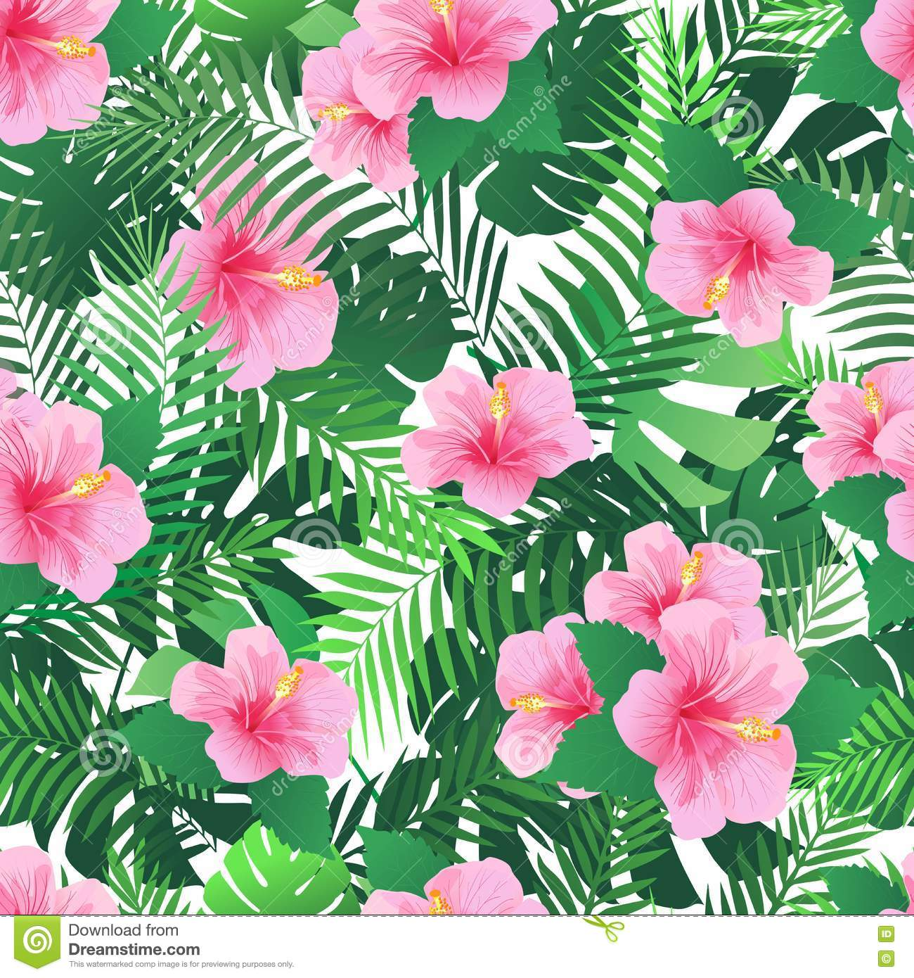 Seamless Pattern With Exotic Hibiscus Flowers And Palm Leaves Stock