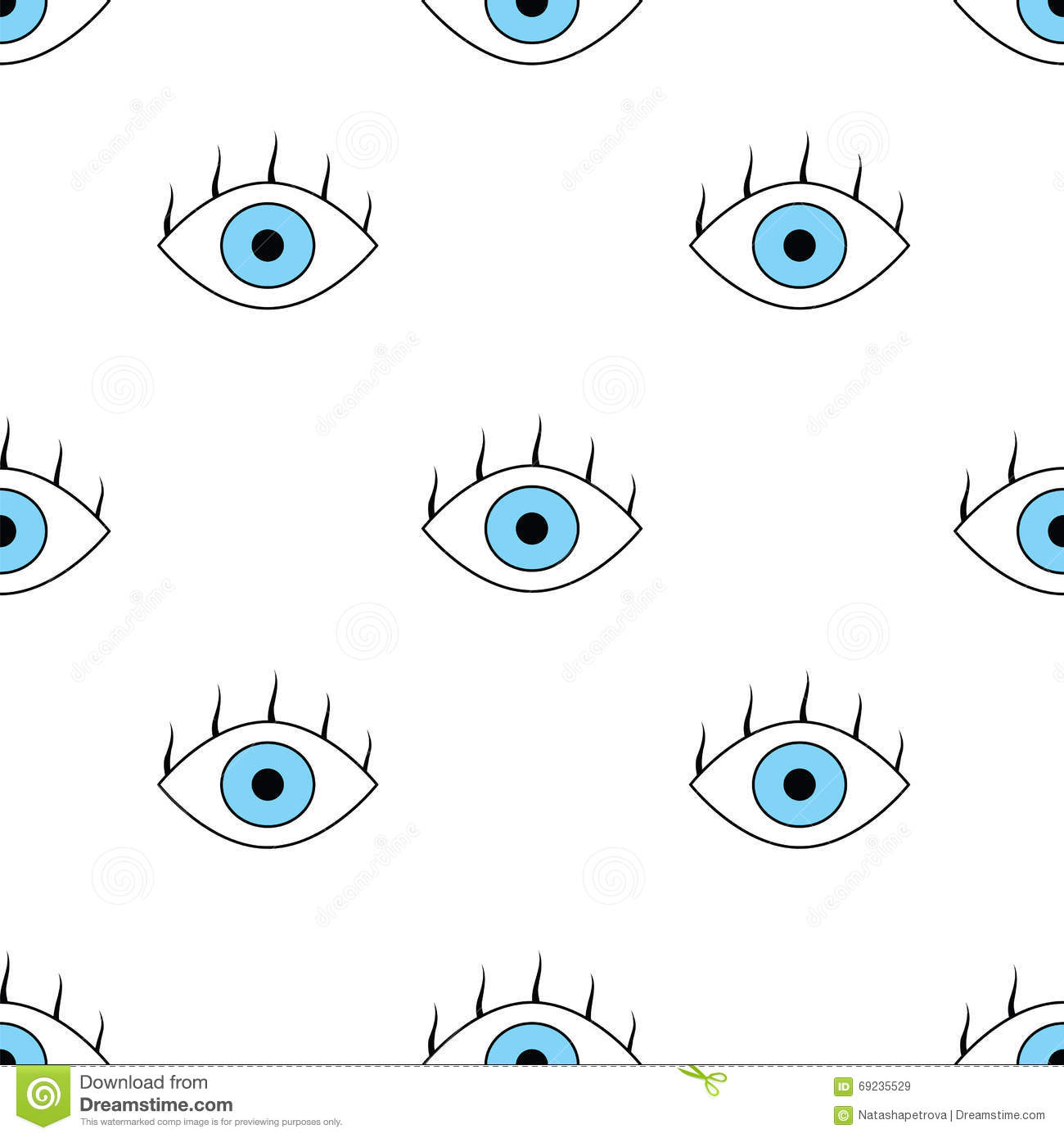 Seamless Pattern With Eyes Stock Vector Illustration Of Doodle