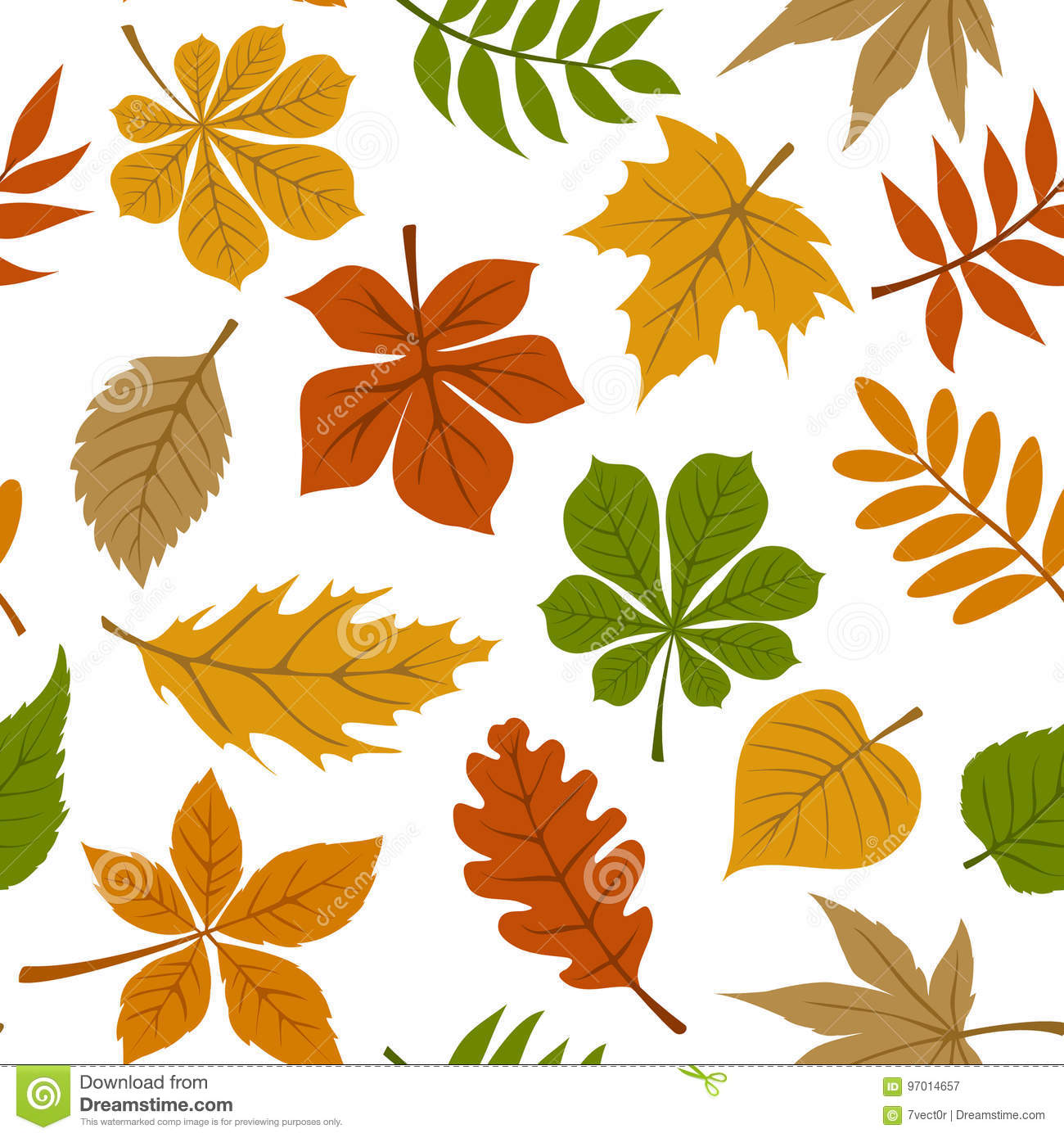 Seamless pattern with fall autumn leaves on white