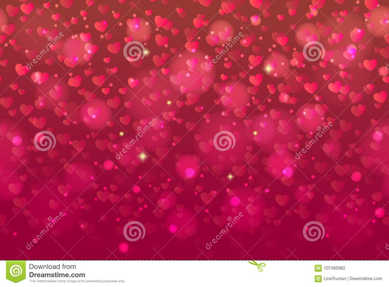 Seamless Pattern With Falling Confetti Hearts For Valentines Day ...