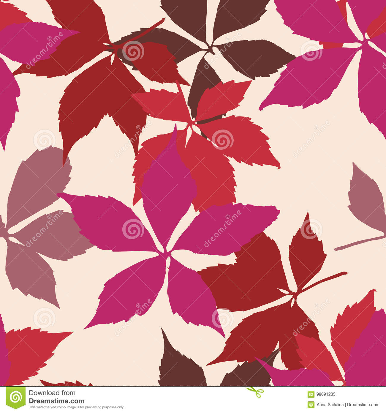 Seamless Pattern With Falling Leaves  Background With Autumn