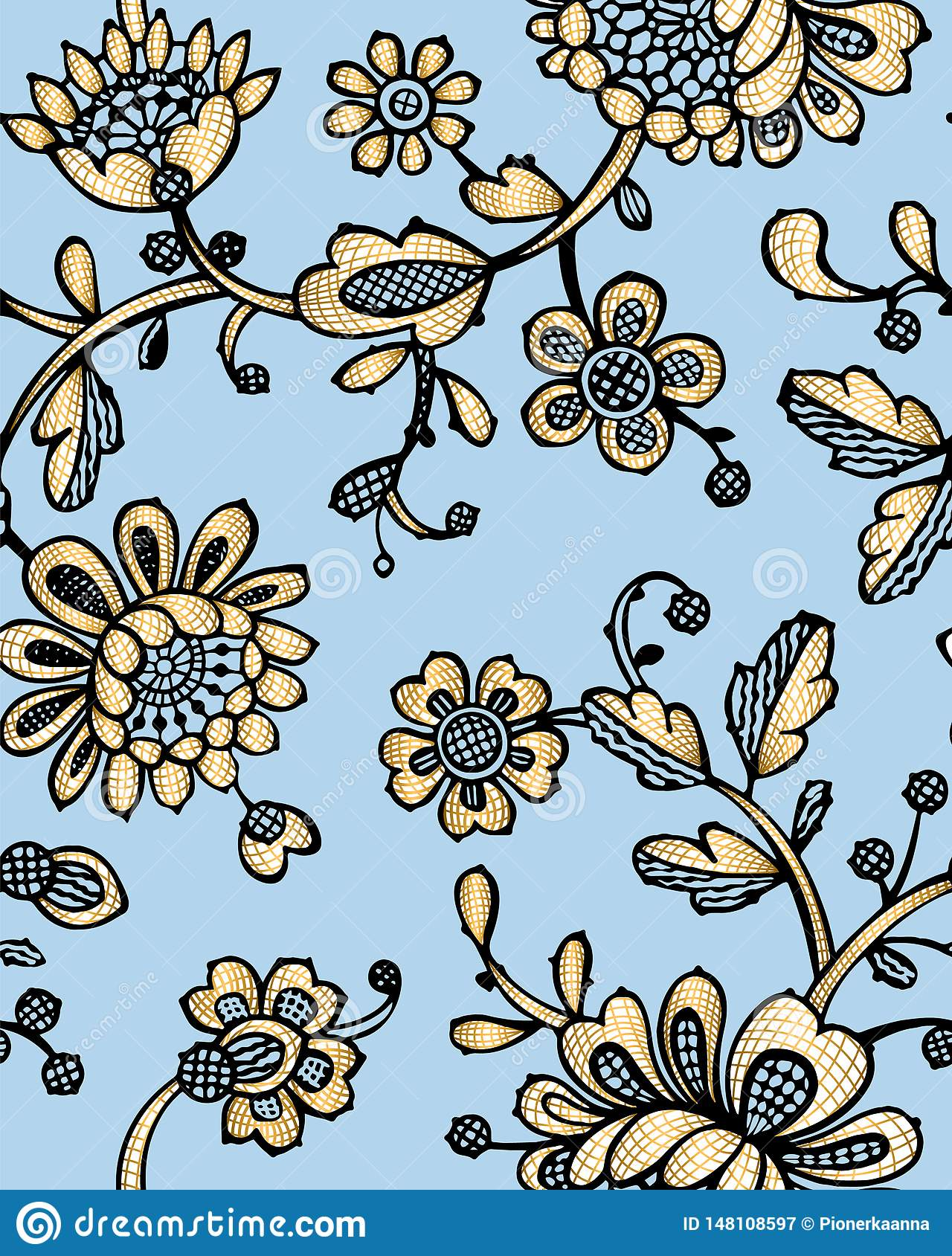 Seamless pattern with fantasy flowers. Vector abstract seamless floral pattern. Lase pattern. Template can be used for wallpaper,
