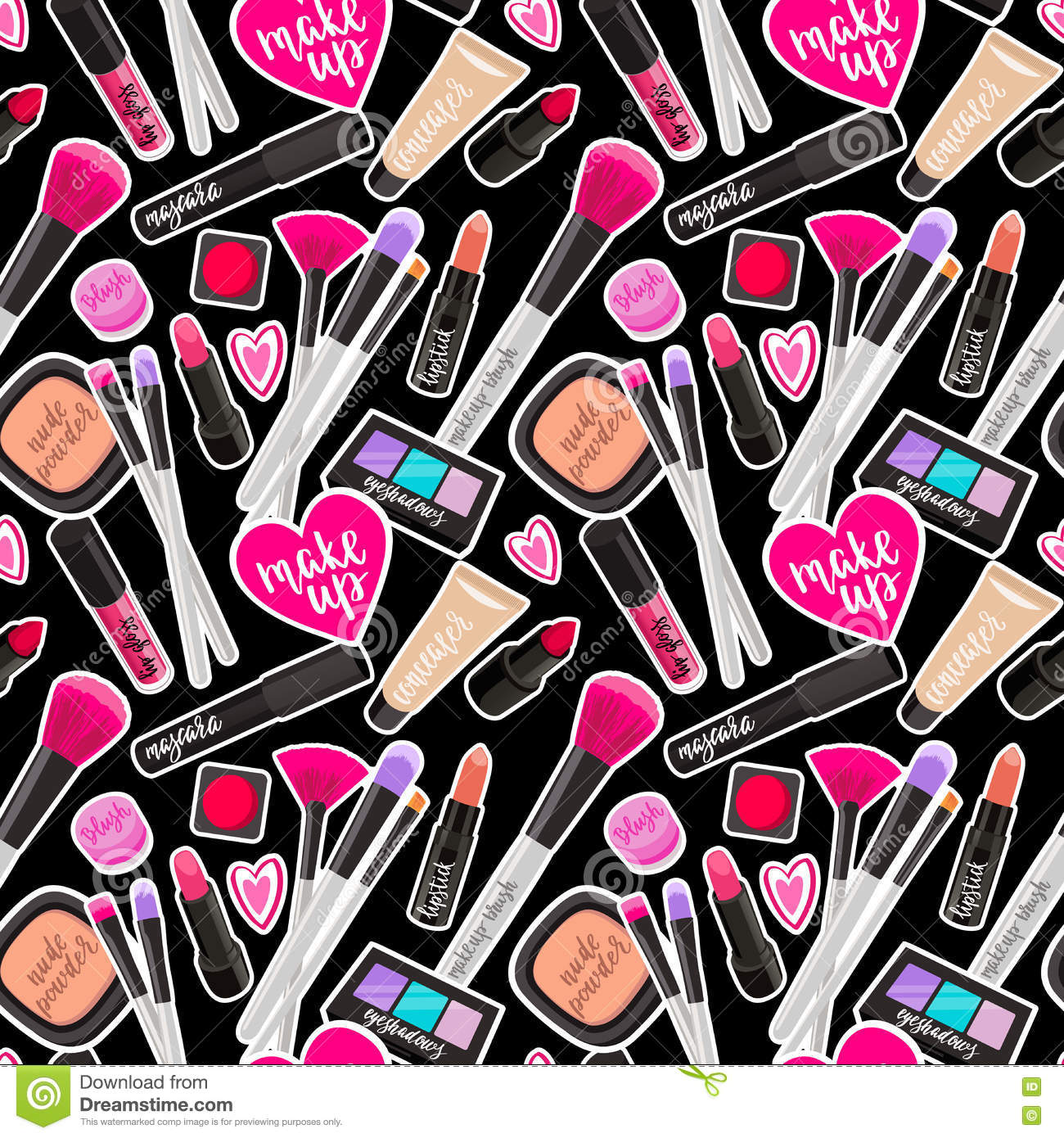 Seamless Pattern Fashion Makeup Items Patch Badges With