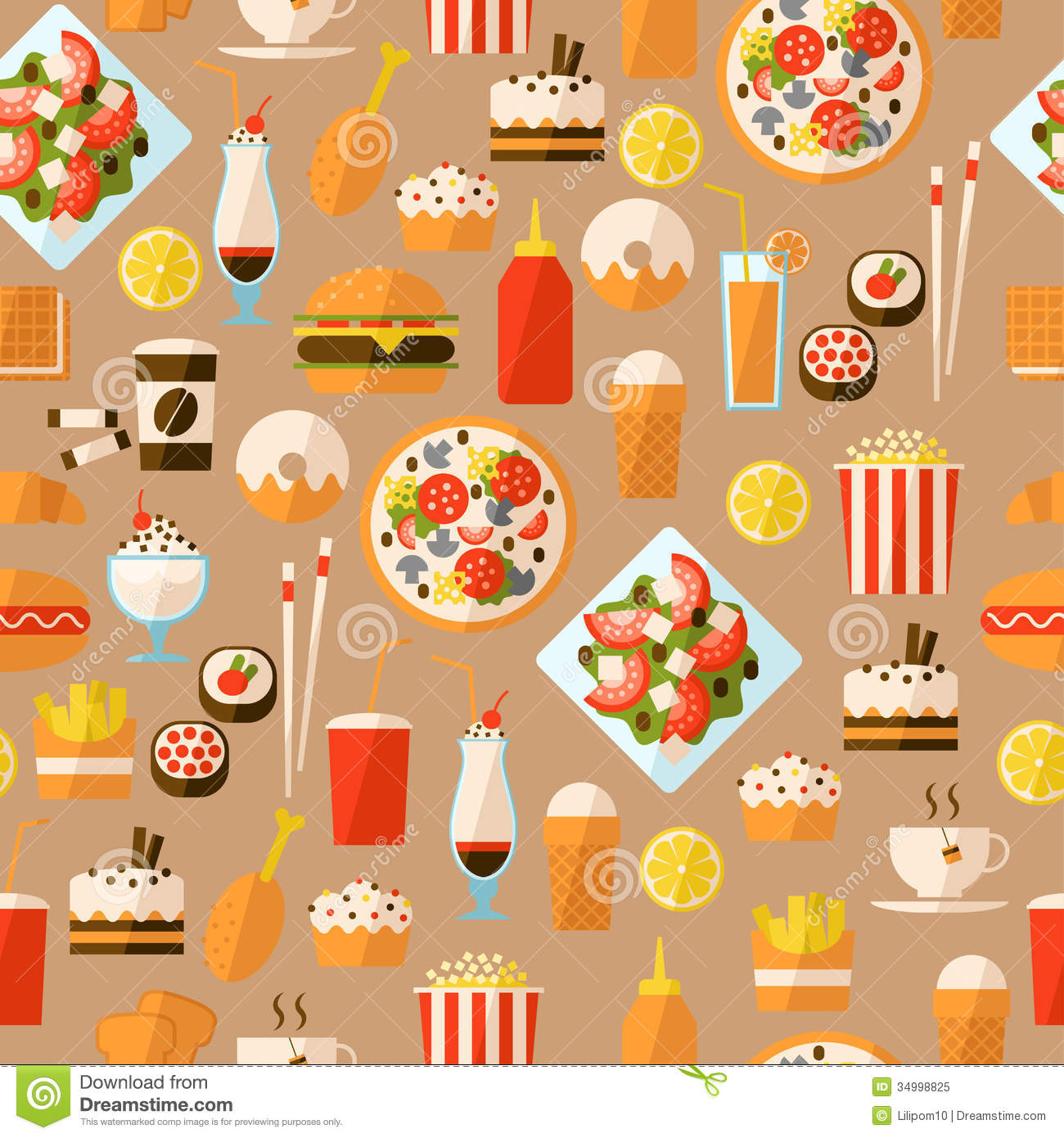 food drink fast pattern seamless interior background textiles website junk wallpapers beverage quality patterns illustration hd cartoon foods dreamstime vector