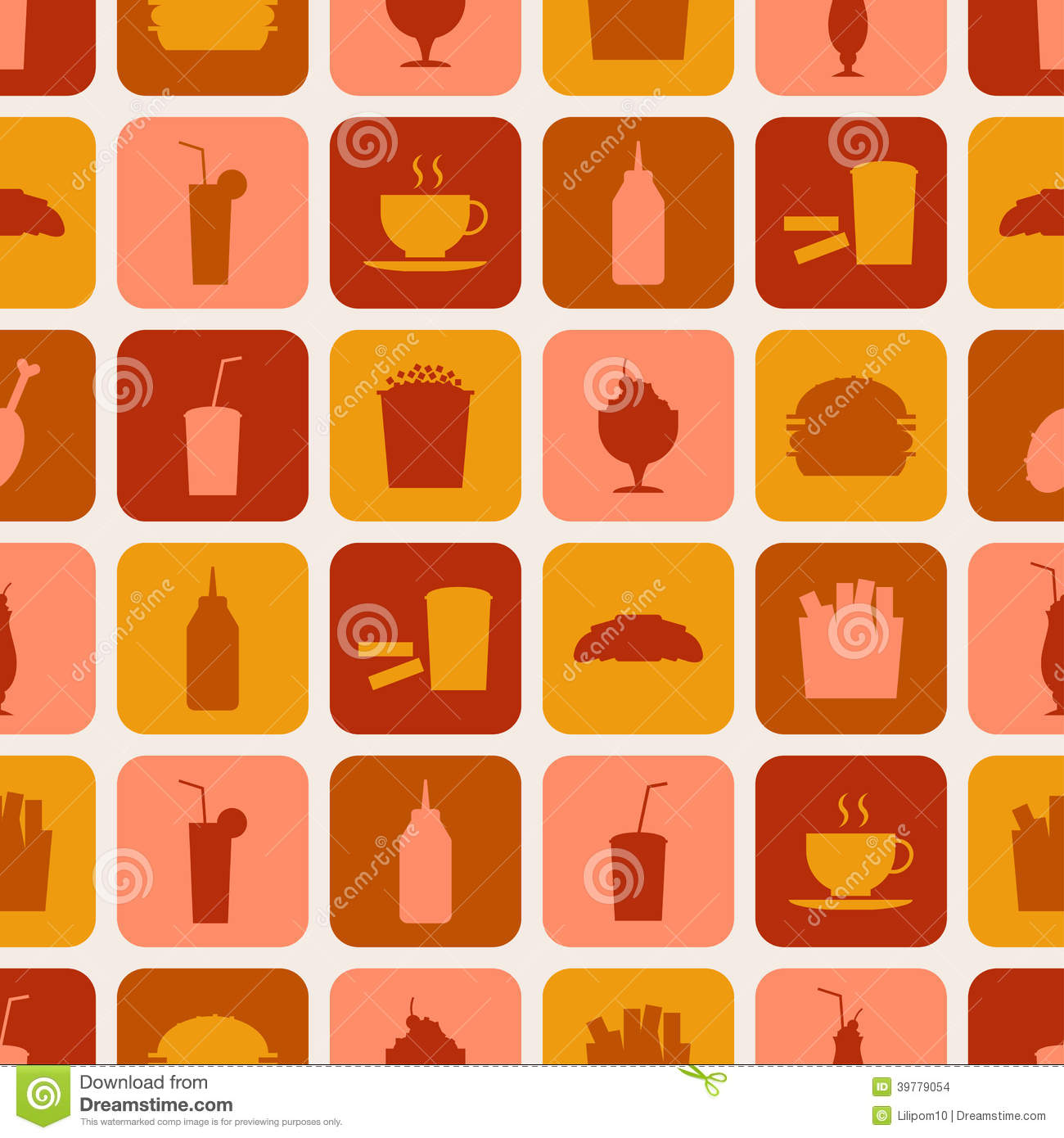 Seamless Pattern Of Fast Food Icons Stock Images