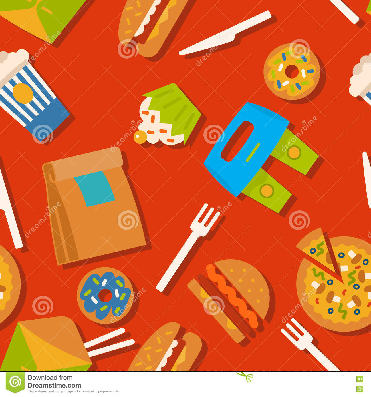 Background With Fast Food Symbols. Menu Pattern. Royalty