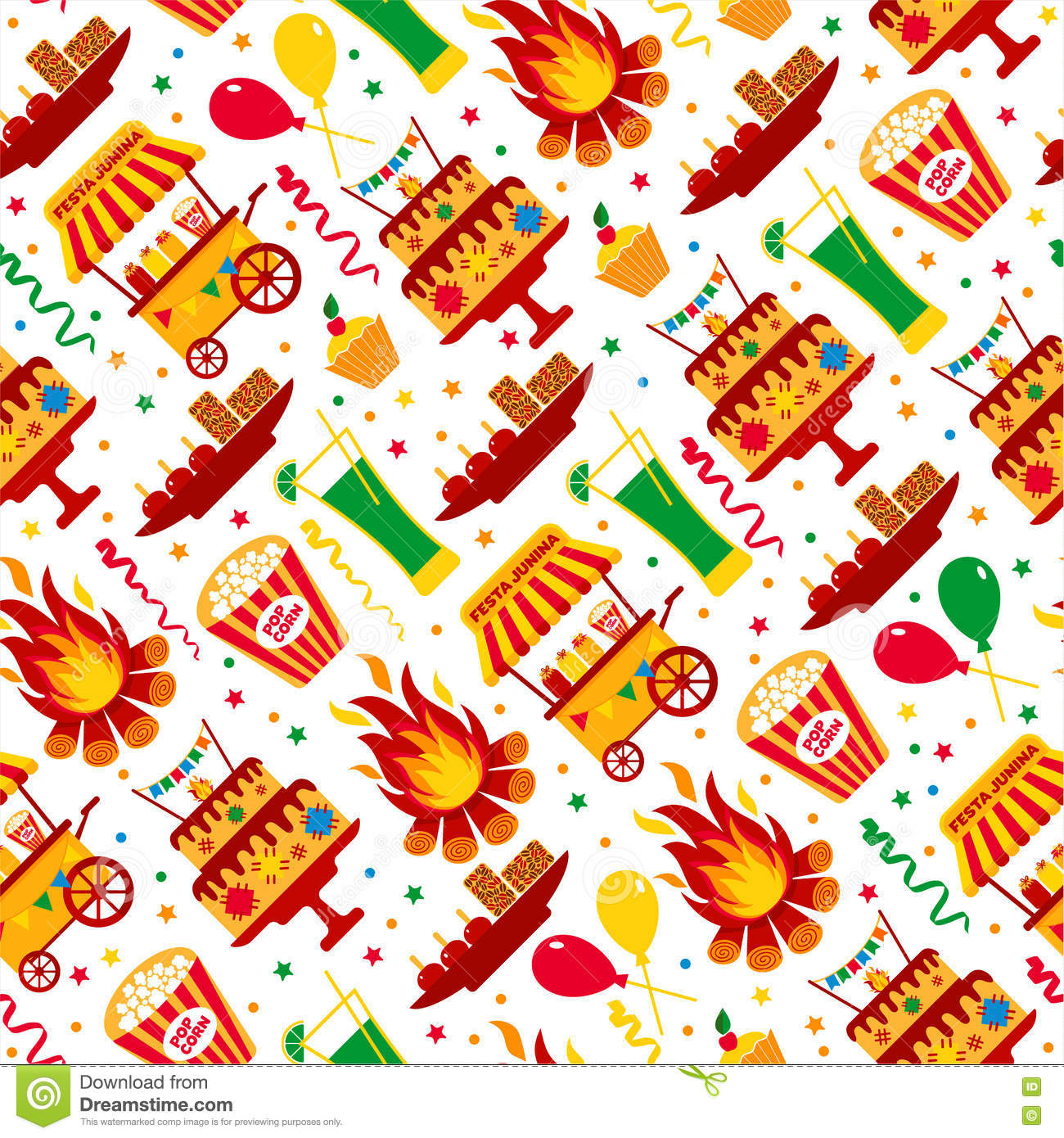Seamless Pattern Of Festa Junina Village Festival In Latin