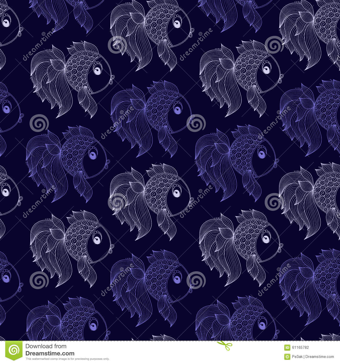 Seamless pattern with fish on purple background stock for Seamless fish tank