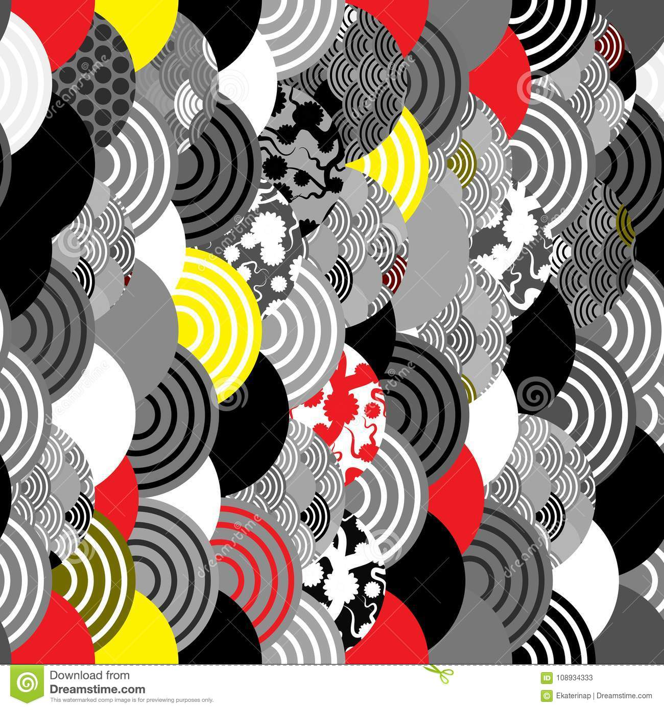 Seamless pattern fish scales simple Nature background with japanese sakura flower, Cherry, wave circle Black gray white Red Yellow