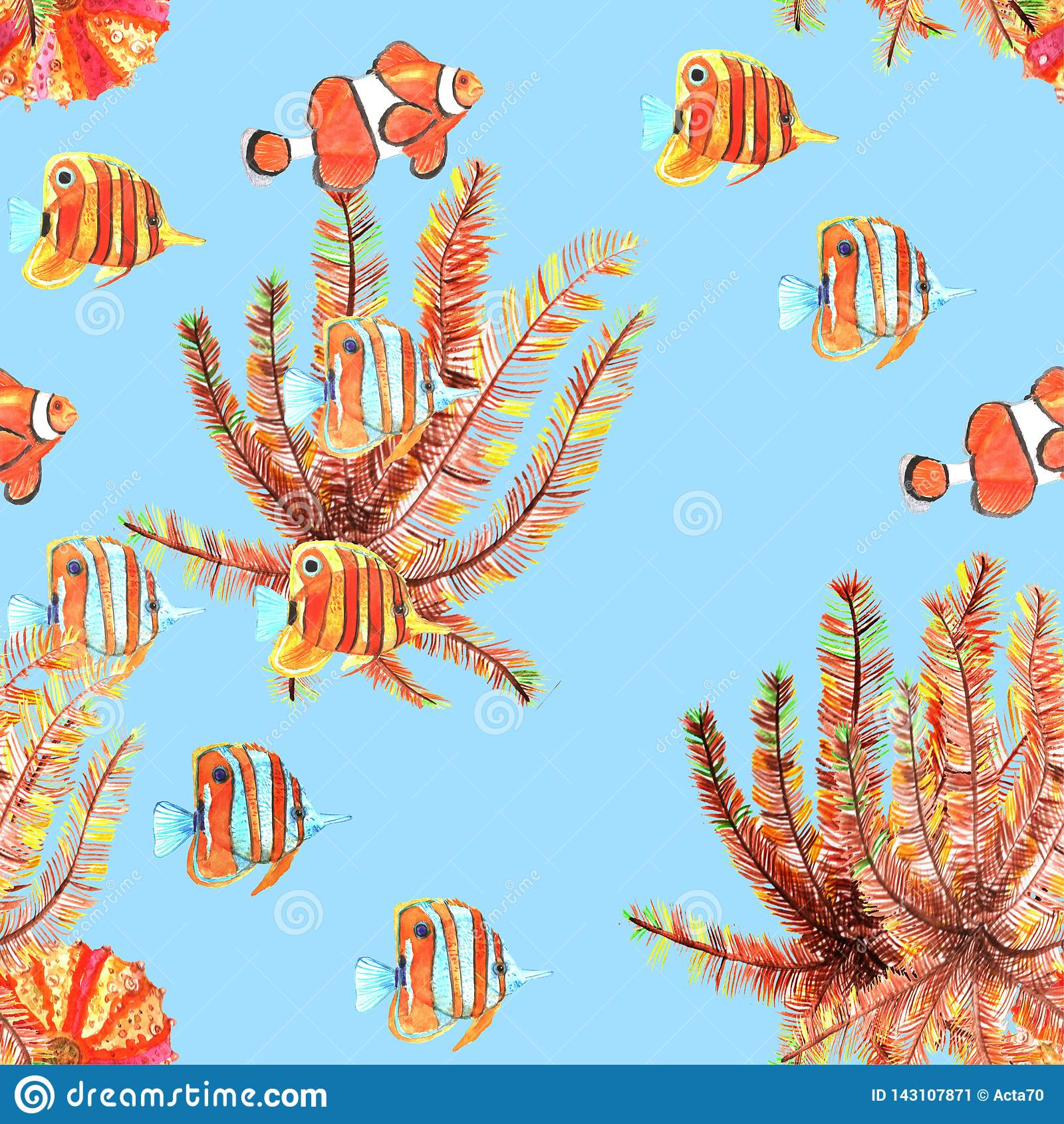 Seamless pattern with fishes. Clownfish, butterflyfish. Watercolor