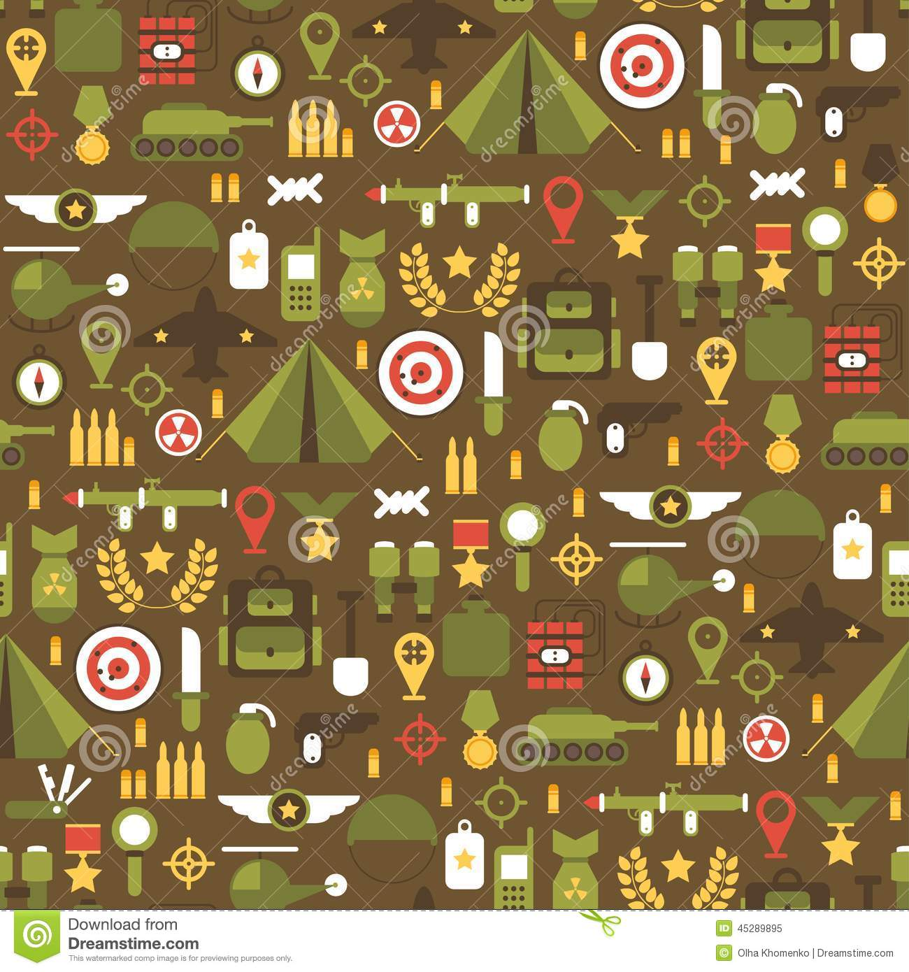 seamless pattern of flat colorful military and war icons set  army infographic design elements