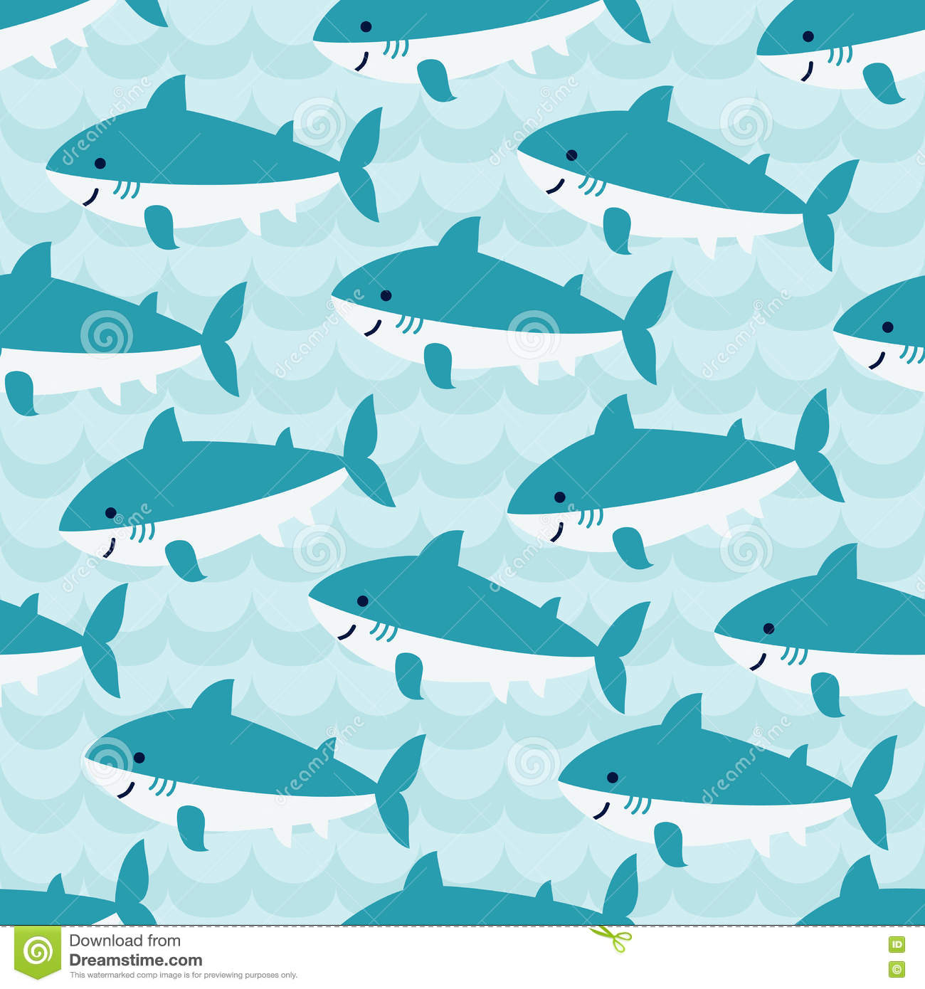 Seamless Pattern With Flock Of Cute Cartoon Sharks Stock Vector ...