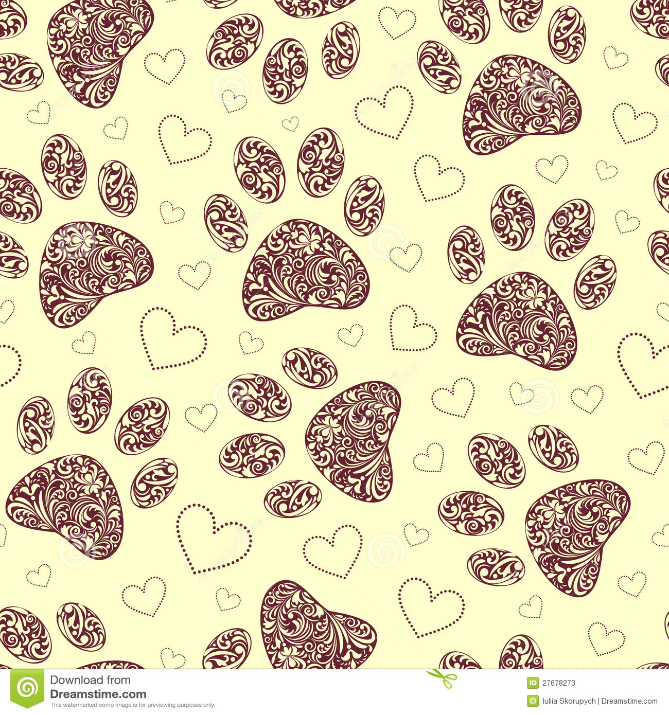 Dog Print Wallpaper seamless pattern with floral animal paw print stock photos - image