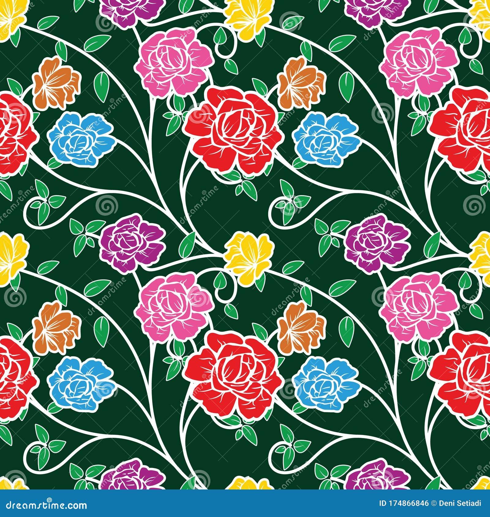 Seamless Pattern with Floral Illustration, Batik Motif Vector ...