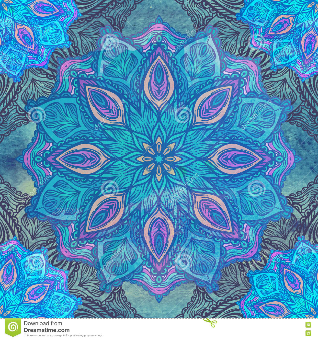 Download Seamless Pattern With Floral Ornament. Round Kaleidoscope Stock Image - Image of pagan, spiral: 75486167