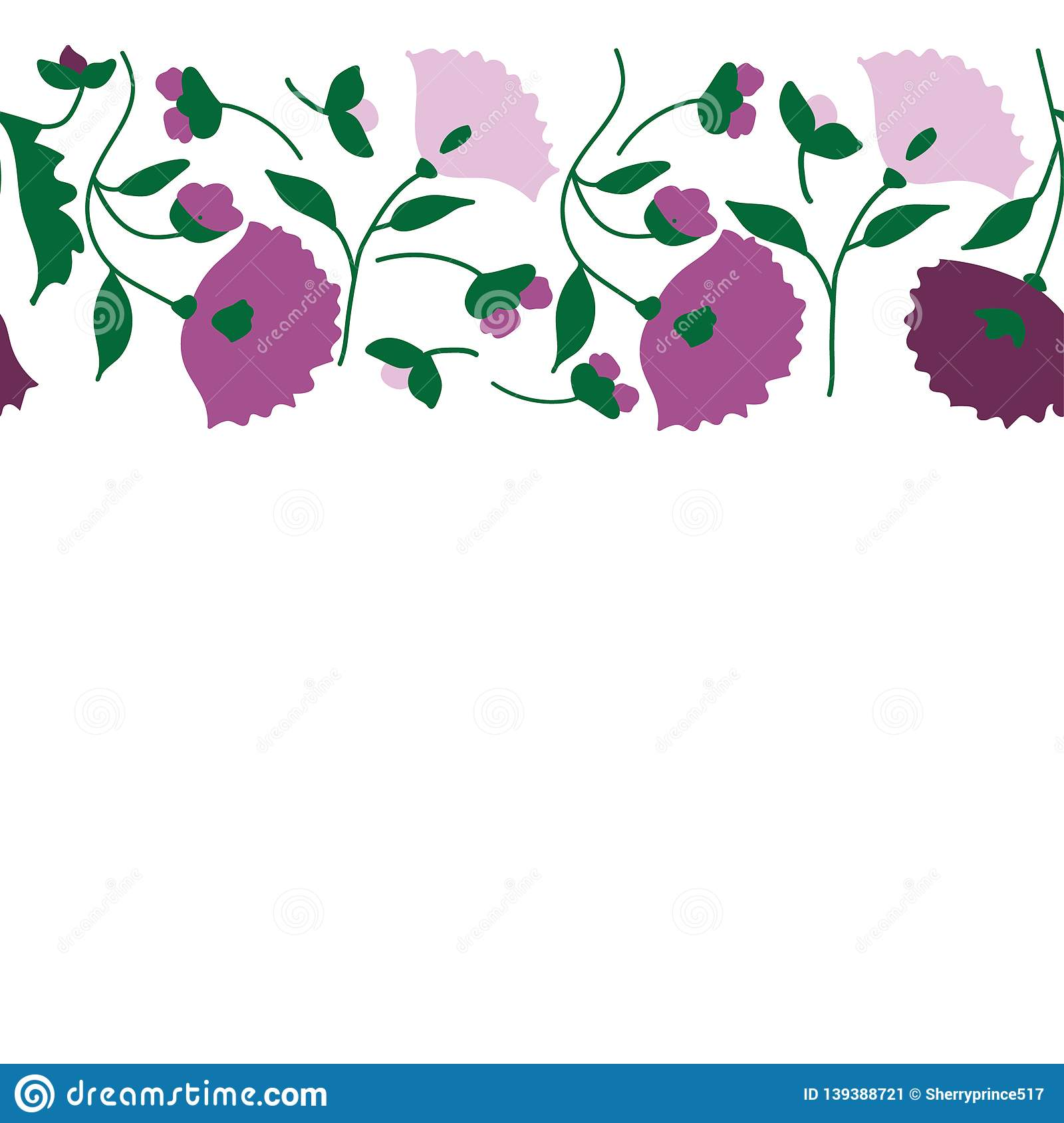 Seamless pattern with purple flowers. Floral textile texture. Vector illustration