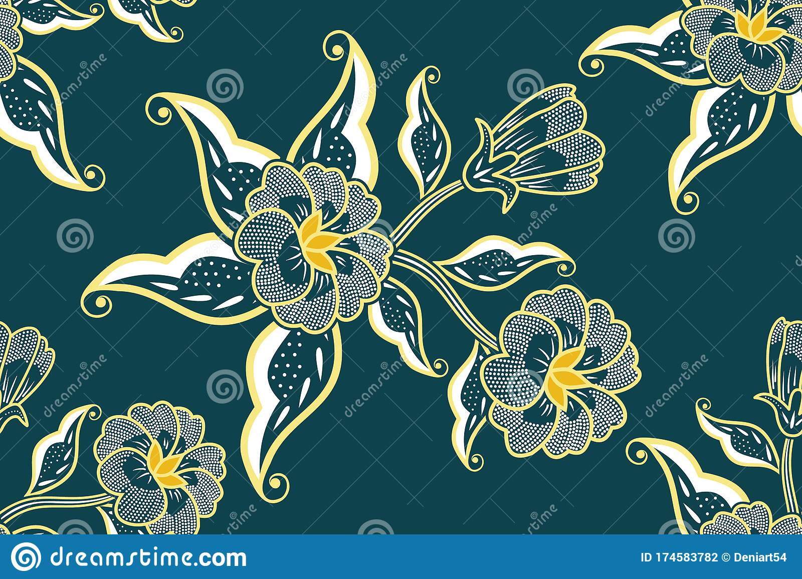 Seamless Pattern with Floral Vector Illustration, Indonesian Batik ...