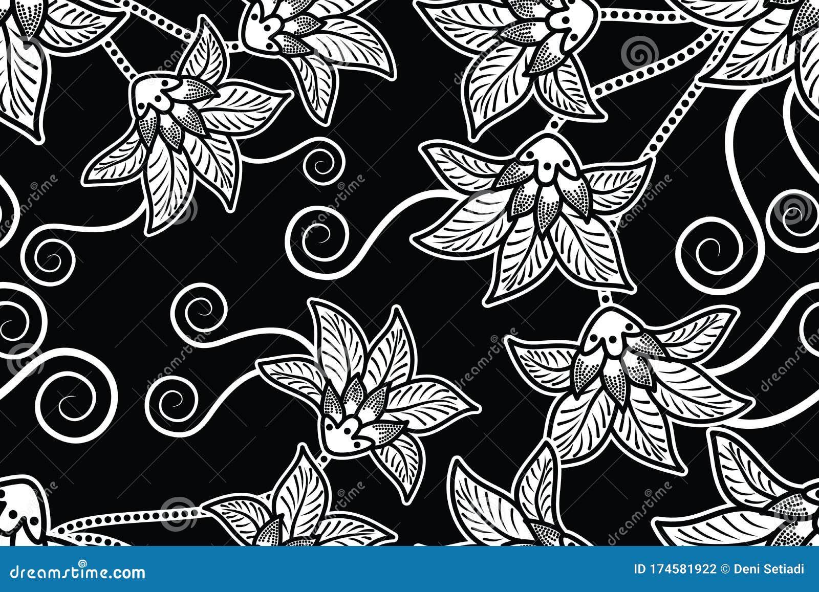Seamless Pattern with Floral Vector Illustration, Modern Batik ...