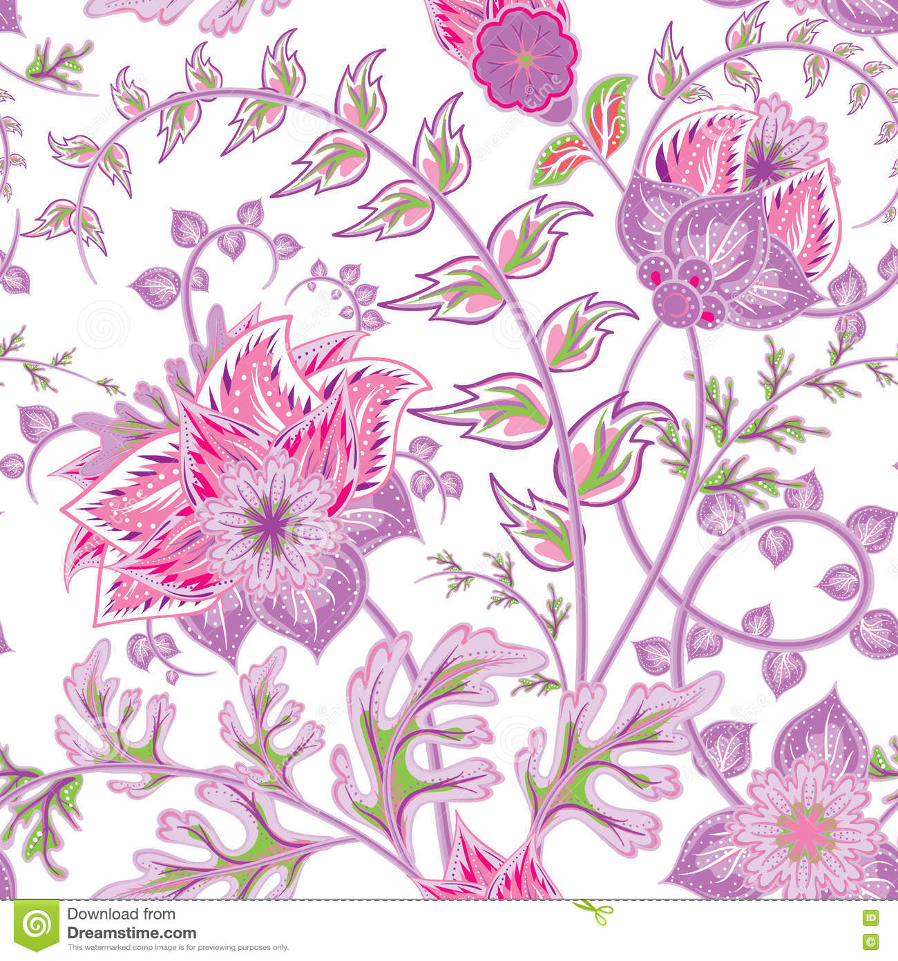Seamless pattern with flower. Beautiful bright flowers. Romantic hand draw vector seamless pattern.