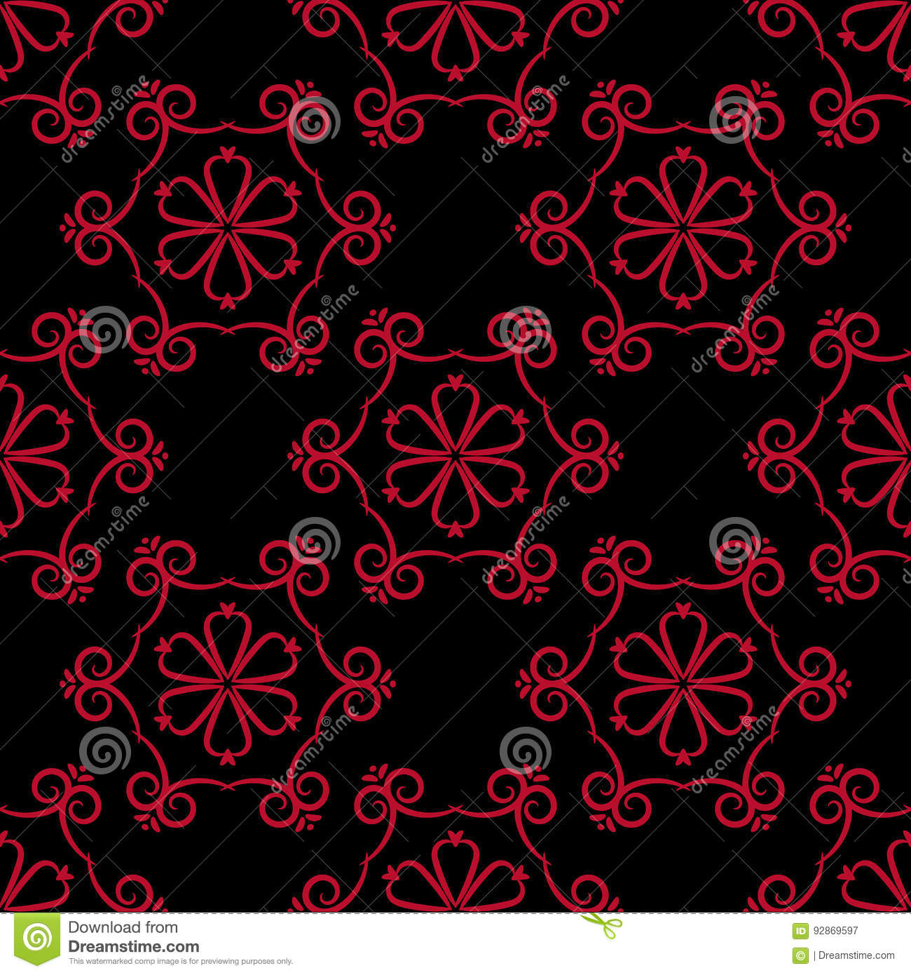 Seamless Pattern With Flower Element Red And Black Abstract