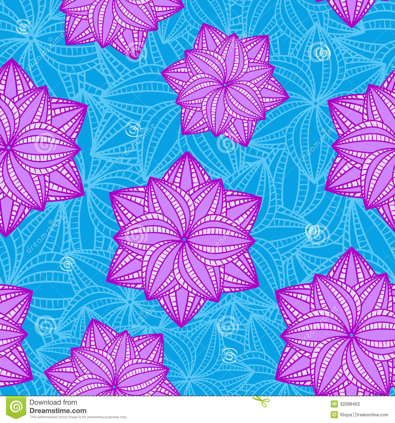 Seamless Pattern With Flowers On Blue Background Stock