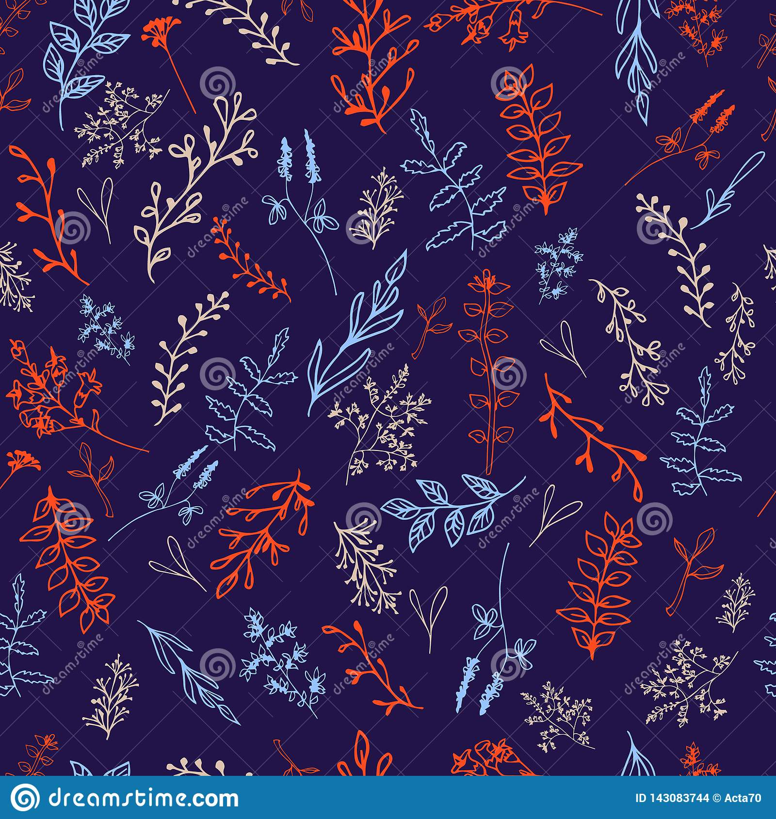 Seamless pattern with flowers on the dark background