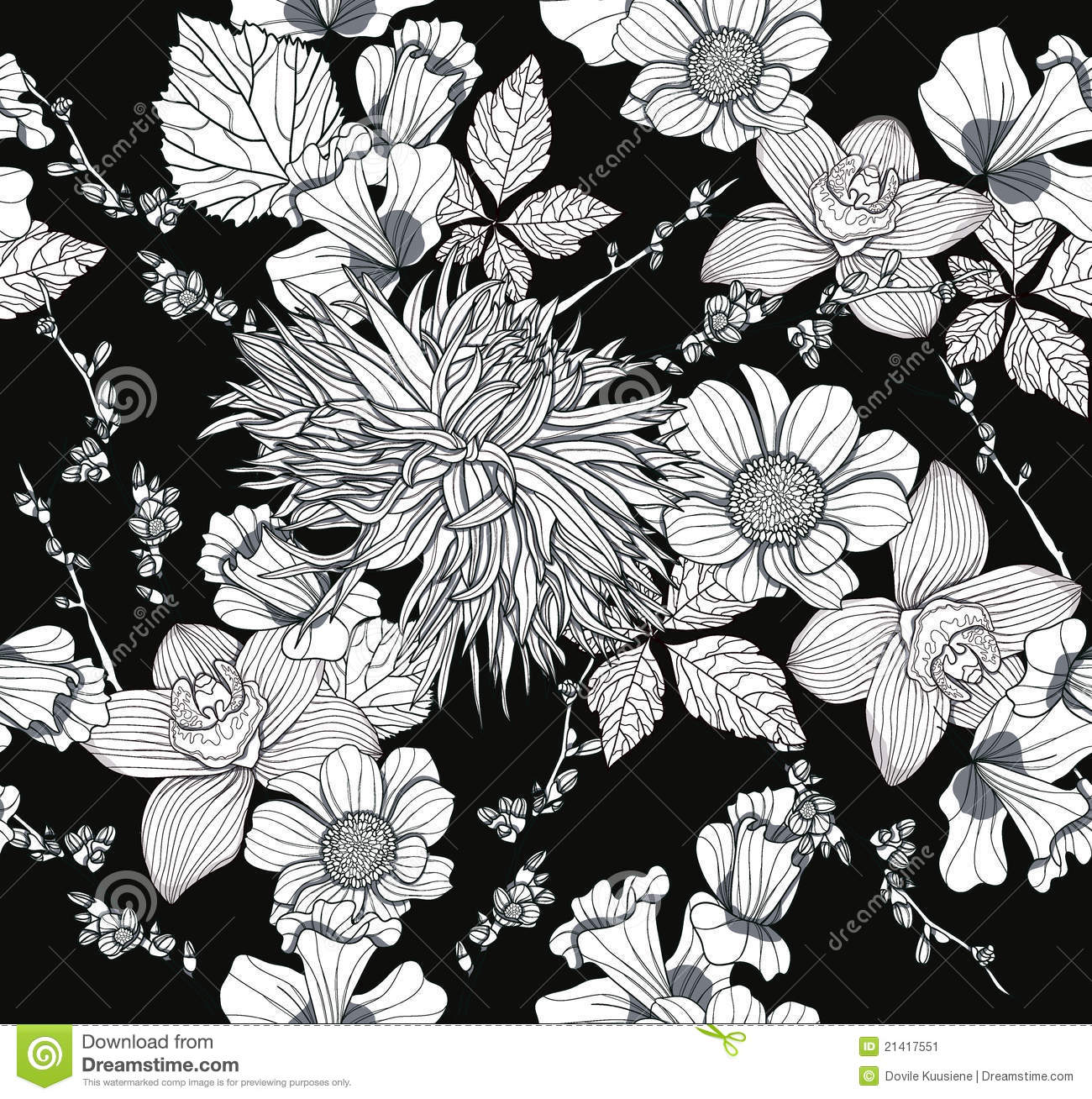 Black Flower Pattern Stock Images: Seamless Pattern With Flowers. Floral Background. Stock