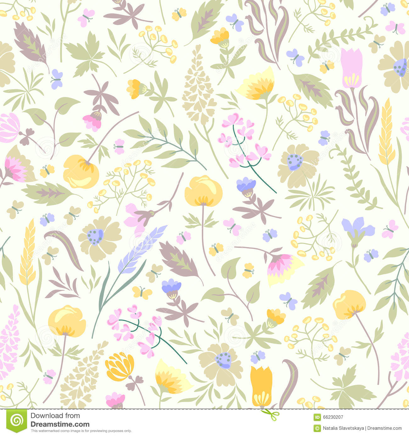 Seamless Pattern With Flowers Stock Vector