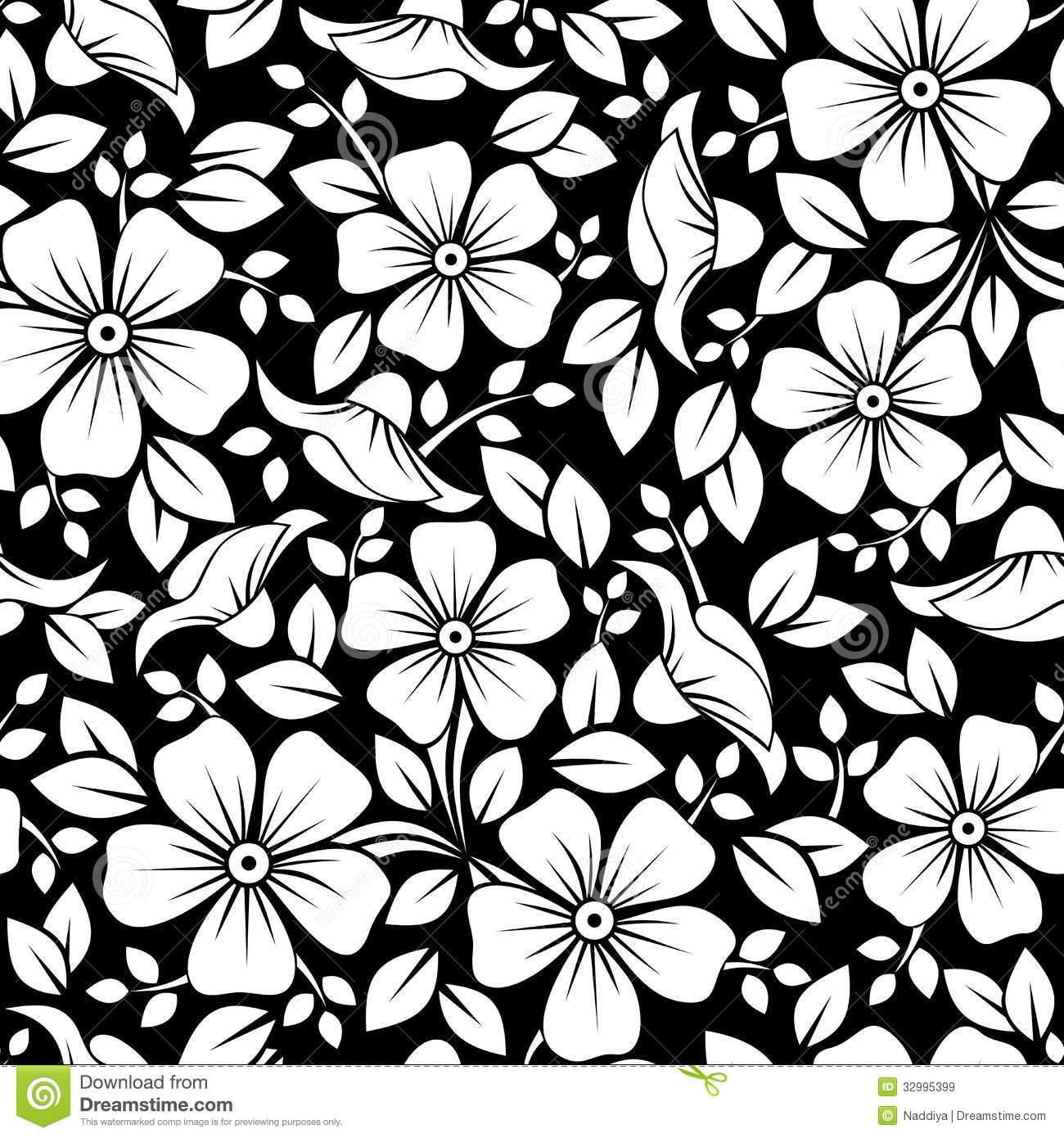 Black Flower And Bud Pattern Royalty Free Stock Photos: Seamless Pattern With Flowers And Leaves. Royalty Free