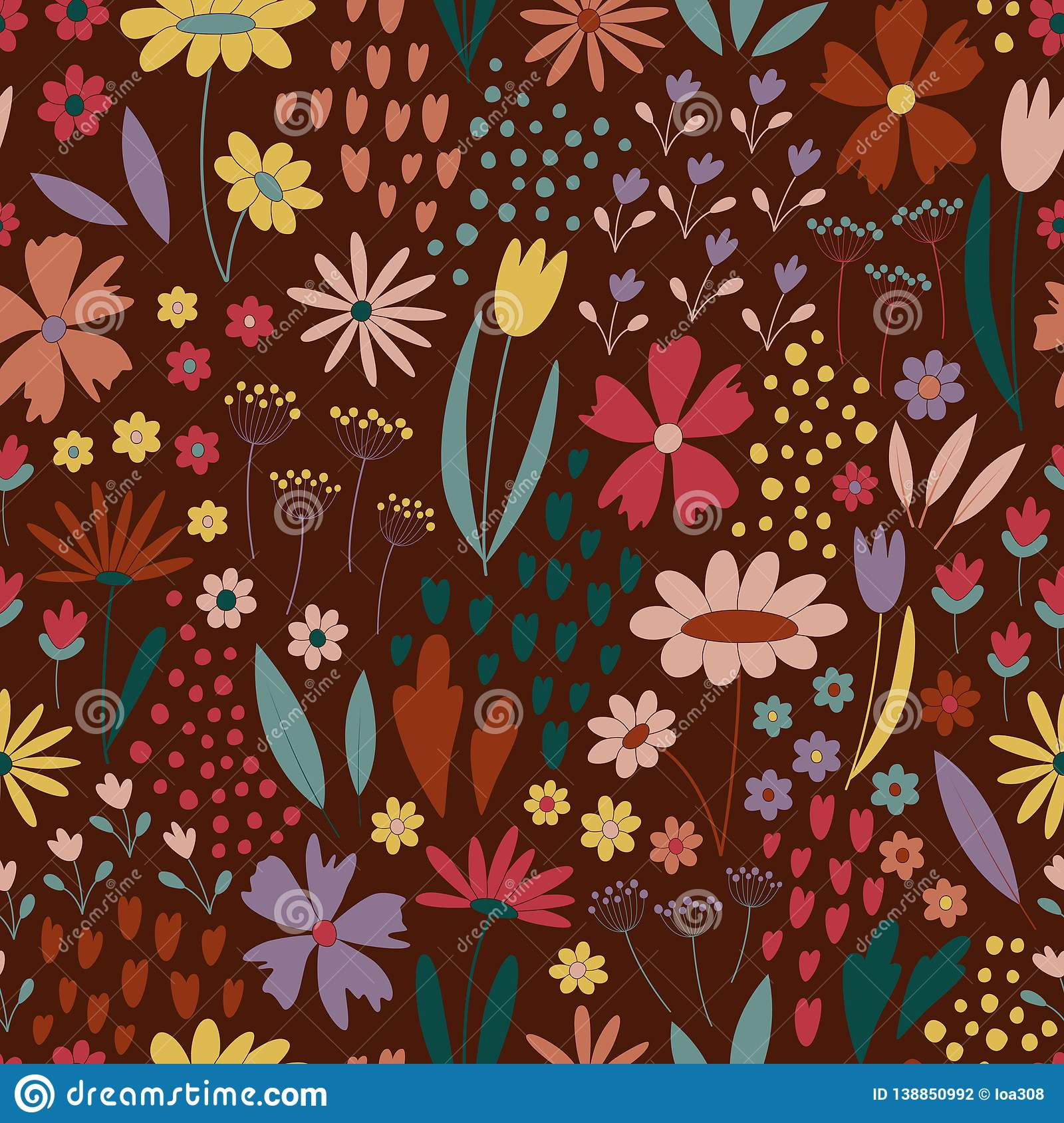 Seamless pattern with flowers and little elements
