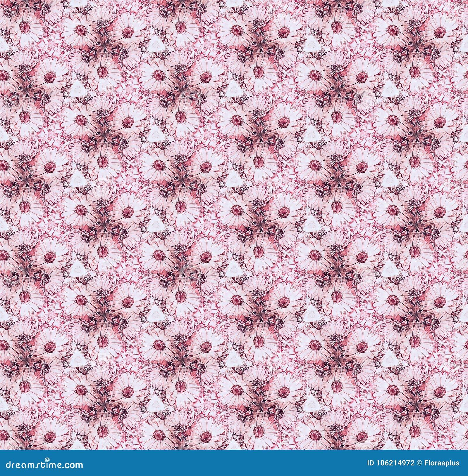 Seamless Pattern Flowers Marigold Pink Stock Illustration