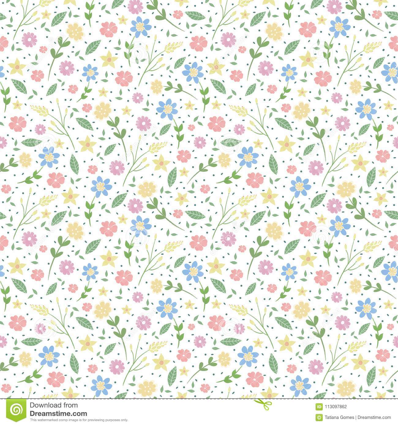 Seamless Pattern With Flowers Romantic Flower Background Stock