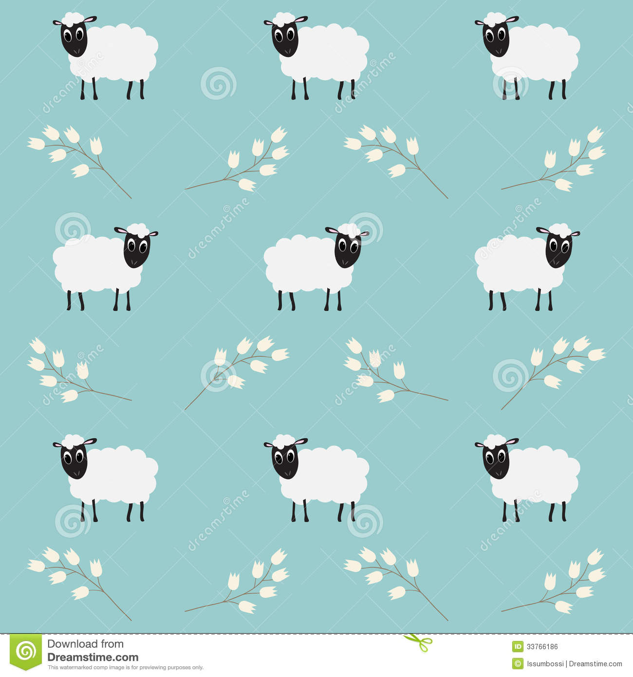 Seamless Pattern With Flowers Sheep Wallpaper